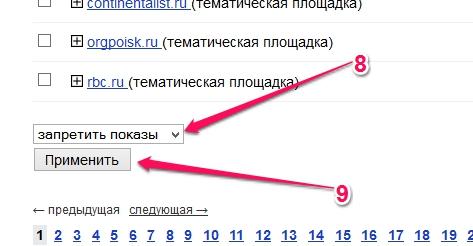 Удаление площадок в Яндекс.Директ