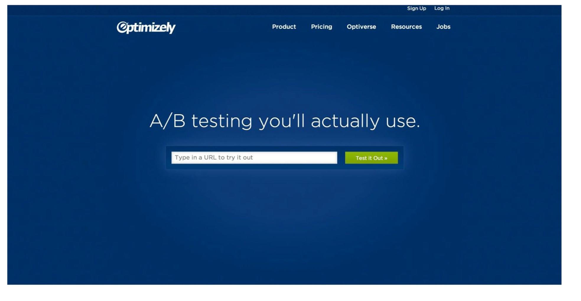 Один из лучших примеров сайта от компании Optimizely