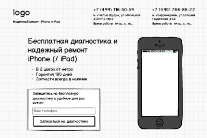 Пример первого экрана в доработанном мокапе