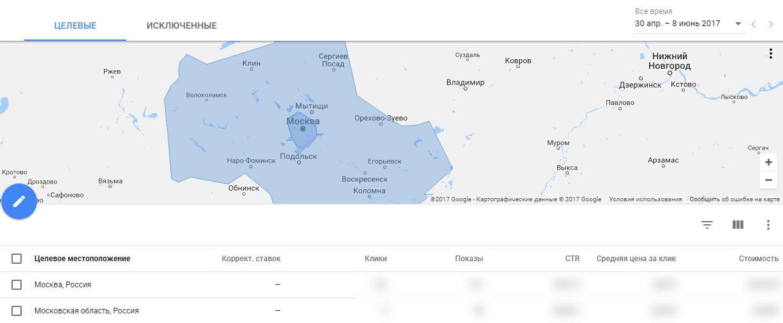 Местоположения в новом интерфейсе Google AdWords