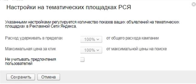 Интересы пользователя РСЯ