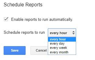 меню schedule reports