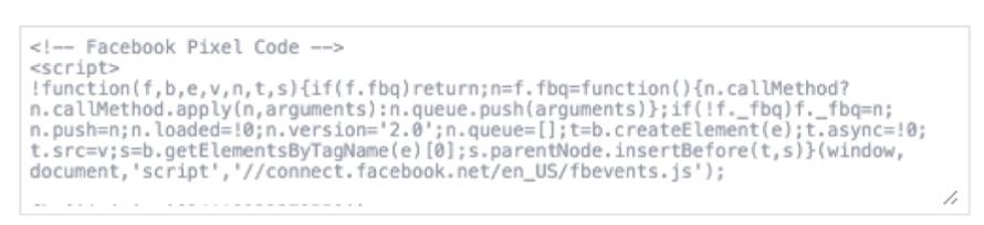 Пример пикселя facebook