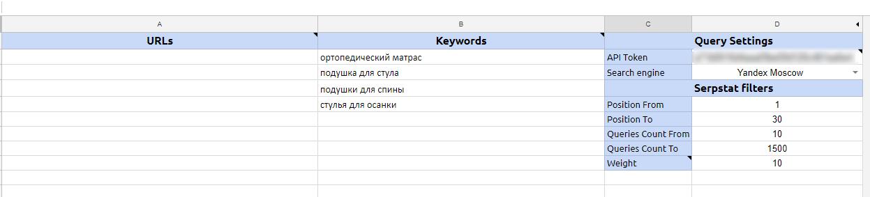 Таблица отчета