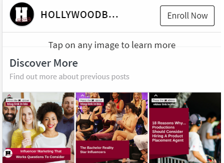 Holywood Branded official responsive Instagram bio