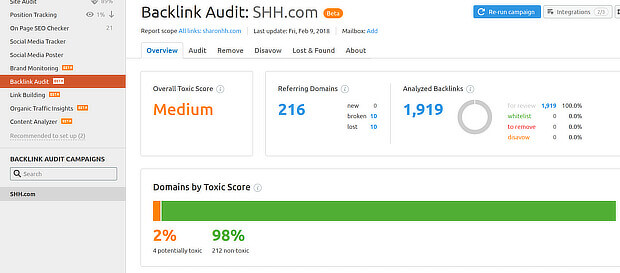 semrush backlink audit overview