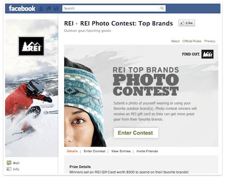 Пример конкурса от REI, на странице в Facebook