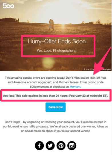 Email from 500px FOMO