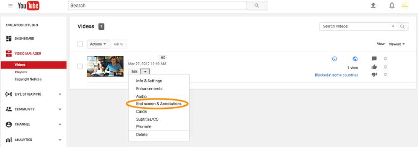 Конечный экран YouTube