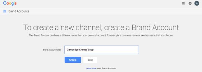 Присвоение имени вашей учетной записи на YouTube.