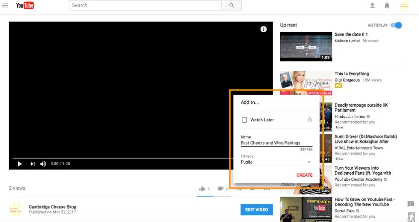 список воспроизведения YouTube