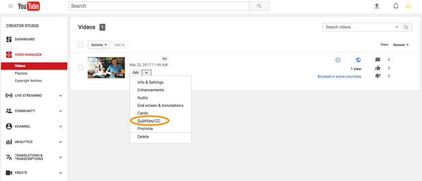 Субтитры и скрытые субтитры YouTube