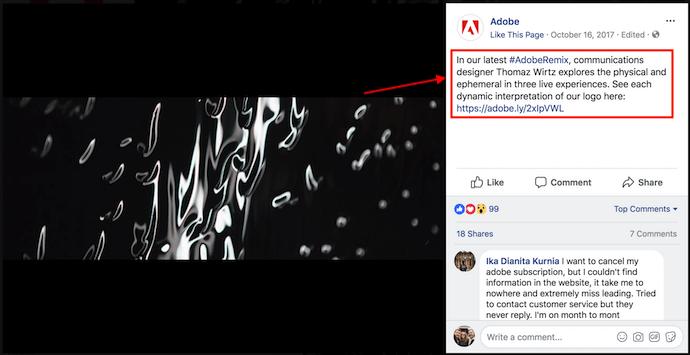 призыв к действию на фото обложки Adobe на Facebook