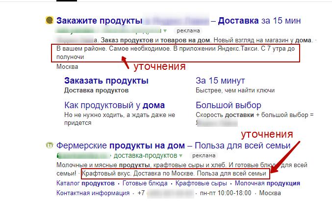 Пример уточнений в Яндекс.Директ