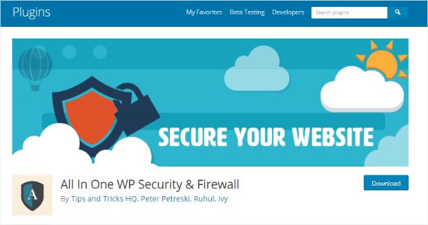 Бесплатный плагин All In One WP Security & Firewall