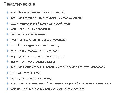 выбрать доменное имя сайта в зоне ru