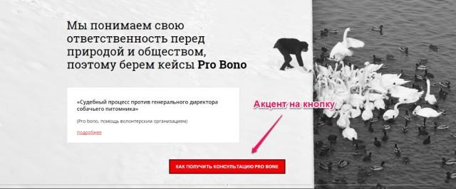 Рис.5 Черно-белое спокойное решение дизайна подчеркивает красную кнопку