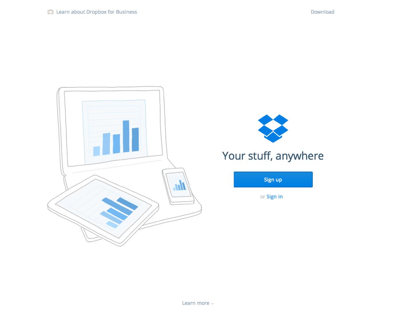 Минималистичная страница сервиса Дропбокс, заголовок: Yout stuff, anywhere