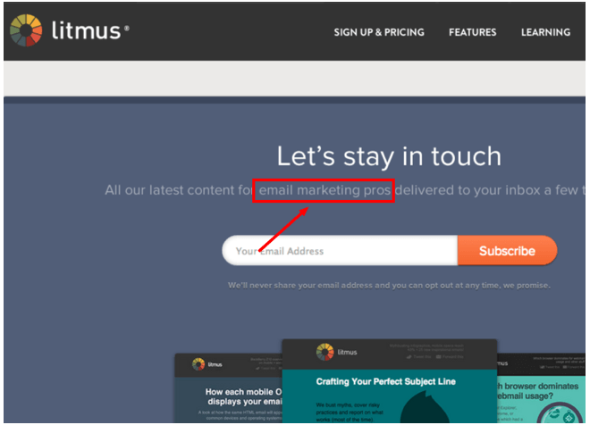 Подзаголовок лендинга: Самый новый контент для профи-маркетолога на ваш почтовый ящик