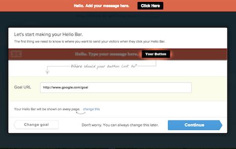 В HelloBar мы, вместо того чтобы заставлять человека сначала зарегистрироваться