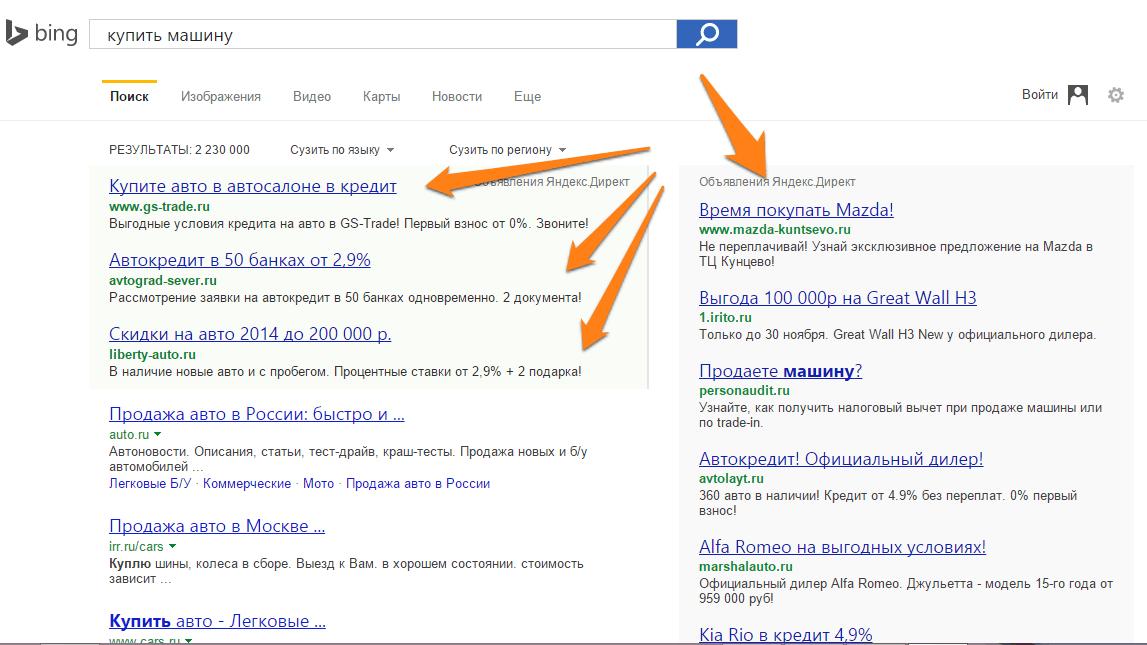 Объявления в Бинг - поисковом партнёре Яндекса.